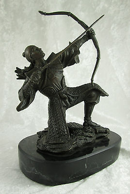 Signed Kamiko Japanese Bronze Samurai Archer Sculpture Marble 9H x6.5L x3.75D in