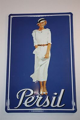 "3D Blechschild Persil 20x30 cm "" Persil Lady in weiss  ""  Tin Sign Enamel Metal"