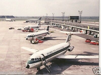 Airline Postcard - Aer Lingus - BAC 1-11 - Manchester Airport Line-up (P3656)