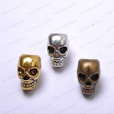 10pcs Tibet Silver Silver Golden Bronze skull charm spacer beads 12MM JK0810