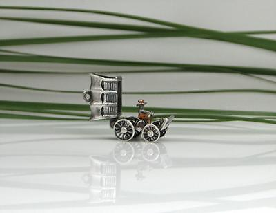 Vintage English Sterling 3D Covered Wagon Western Bracelet Charm Opens 1960's