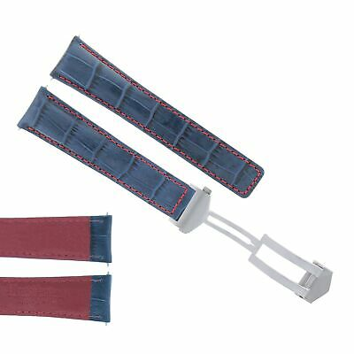 22Mm Monaco Leather Watch Band Strap Deployment Clasp For Tag Heuer Blue Red 3Tc