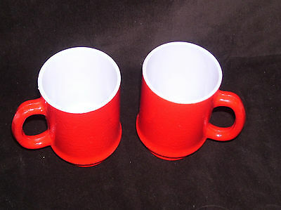 Pair of Tall Vintage Hazel Atlas Red Milk Glass Fired On Color White Cups