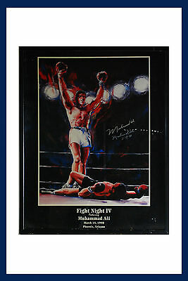Lithograph Autographed By Muhammad Ali On 3-15-1998 Framed with Glass