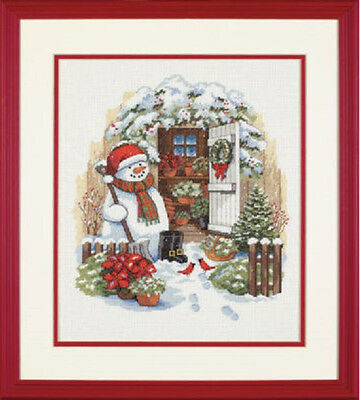 Counted Cross Stitch Kit GARDEN SHED SNOWMAN
