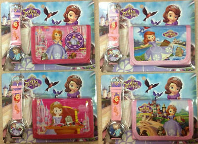 New 12 X Sofia the First Quartz Watch and Purses Wallet Sets Children Part Gifts