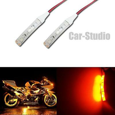 2pcs 5050-SMD Chips DC 12V Yellow Amber Waterproof Motorcycle LED Strip Lights