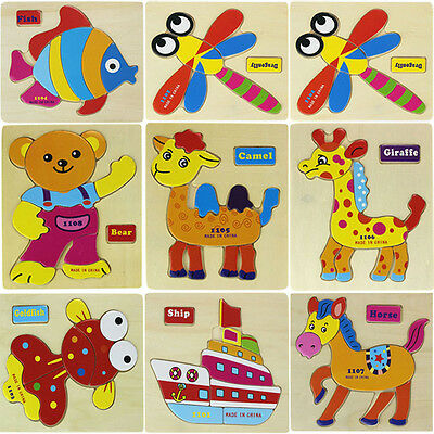 Wooden Blocks Animals Kid Children Educational Toy Puzzle Lovely
