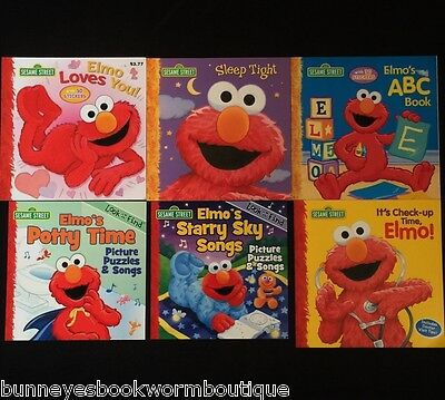 Lot 6 ELMO Sesame Street PICTURE Story BOOKS New KIDS Look Find RHYMES Stickers