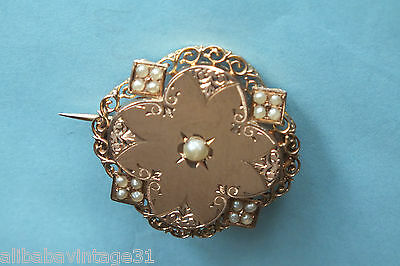 Broche ancienne en Or rose 18 c  NAPOLEON III  Antique solid gold brooch