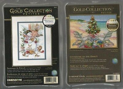 LOT OF 2 Counted Cross Stitch Kits CHRISTMAS ON THE BEACH~SNOWMAN & FRIENDS