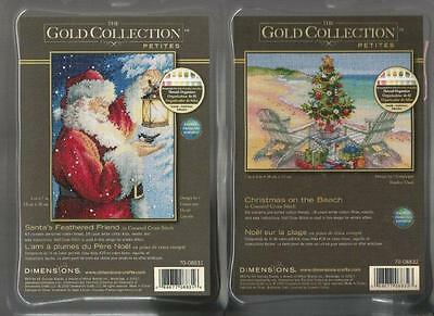 LOT:  2 Counted Cross Stitch Kits CHRISTMAS ON THE BEACH~SANTAS FEATHERED FRIEND