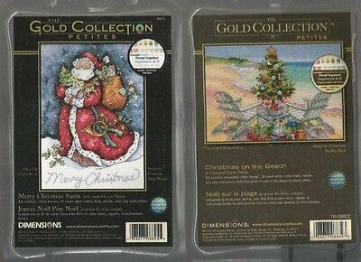 LOT OF 2 Counted Cross Stitch Kits CHRISTMAS ON THE BEACH~MERRY CHRISTMAS SANTA