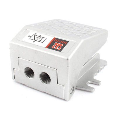 FV-02 Alloy 1/4BSP Threaded Air Pneumatic Pedal Valve Foot Switch Silver Tone