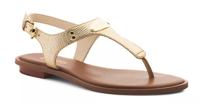 2948e70da78b Michael Kors MK Plate Thong Pale Gold Metallic Leather Sandal Women sizes  5-11!