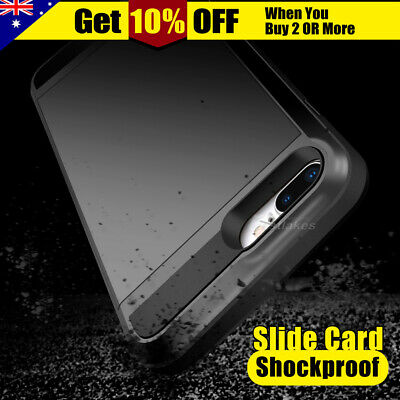 NEW Apple iPhone X 7 8 Plus 6s Case Cover Shockproof Slide Card Armor Heavy Duty