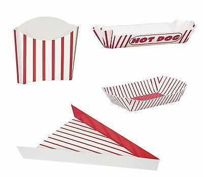 Retro Food CONTAINERS/TRAYS (Pizza/Hot Dog/Fries)(Red Stripes)(Party/Treat/Box)