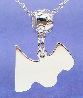 Adorable Scottie Pendant with Paw Print Slider on Silver Necklace