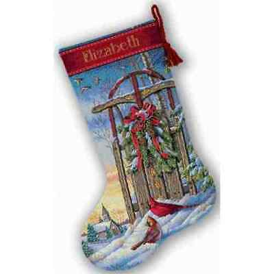 Counted Cross Stitch Kit CHRISTMAS SLED STOCKING