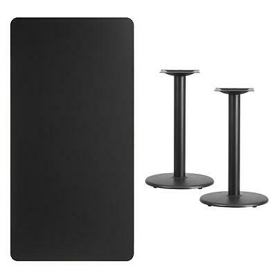 30'' X 60'' Rectangular Black Laminate Table Top With 18'' Round Table Ht Base