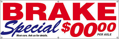 BRAKE SPECIAL Vinyl Banner CUSTOM Sign 2x6 ft - auto repair add your price