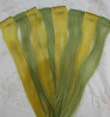 100% Human Hair Clip-In Extensions Yellow and Green *3.7cm W x 45cm L*