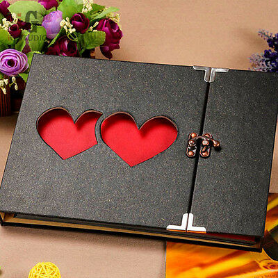 10 Inch Solid Cover Memory DIY Photo Album Book Holder Black and Heart to Heart