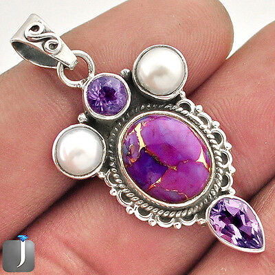 9.78cts PURPLE COPPER TURQUOISE AMETHYST 925 SILVER PENDANT JEWELRY E35137