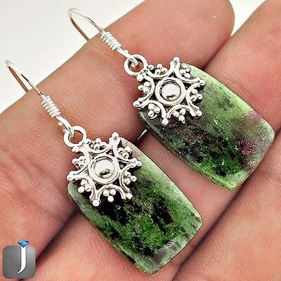 23.61cts NATURAL PINK RUBY ZOISITE 925 STERLING SILVER DANGLE EARRINGS E34123