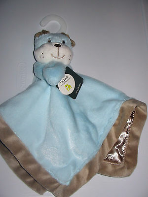 Carters blue tan white puppy dog bulldog security blanket plush baby toy NEW nwt