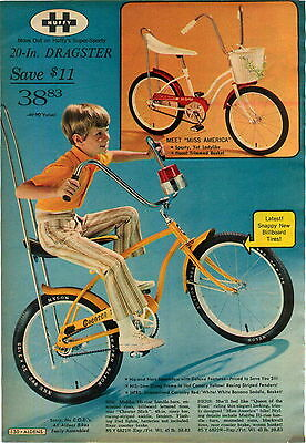 "1970 ADVERTISEMENT Huffy 20"" Dragster Bicycle Banana Seat Sissy Bar Miss America"