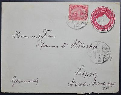 EGYPT 1907 upr Pyramide Stationery Cover/ENV CAIRO to GERMANY , Egitto, Africa