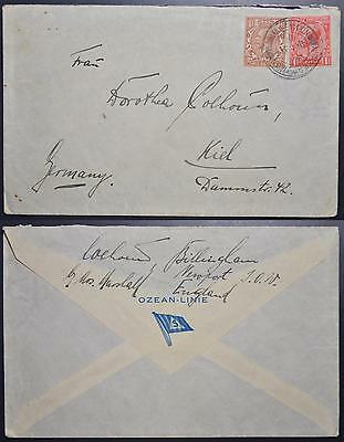 ENGLAND Isle of Wight 1920 Ship-Line Stat Cover NEWPORT IOW to GERMANY , KGV