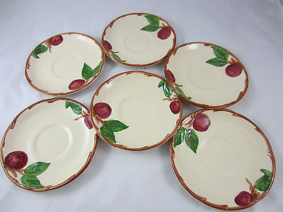 "vintage Franciscan Apple pattern 6 saucers ""TV"" mark USA"