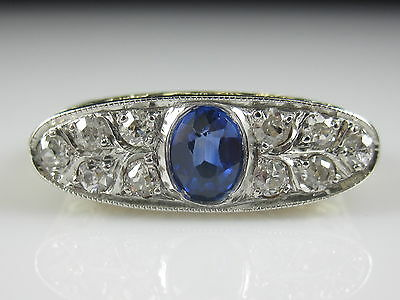 Sapphire Old European Cut Diamond Art Deco 14K Gold Vintage Antique Filigree