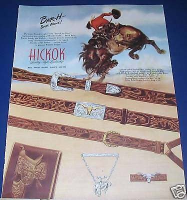 1947 Hickok Belts Wallets Western style Cowboy Bronc Ad