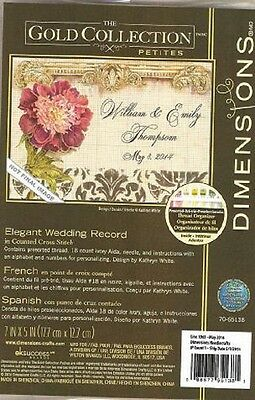 Counted Cross Stitch  ELEGANT WEDDING RECORD  ~ Dimensions Gold Collection Pet.