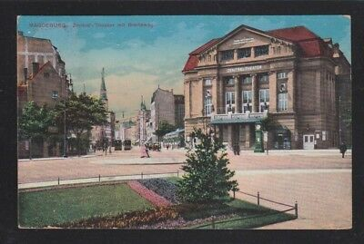 GERMANY 1913 MAGDEBURG THEATRE POSTCARD TO BRIDGEPORT CONNECTICUT USA