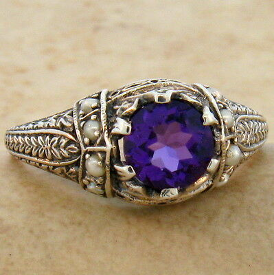ANTIQUE STYLE HYDRO AMETHYST AND PEARL .925 STERLING SILVER RING SIZE 4.75,#110