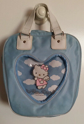 Sanrio '98 Hello Kitty Light Blue Angel Zip Up Cosmetic Toiletry Bowling Bag