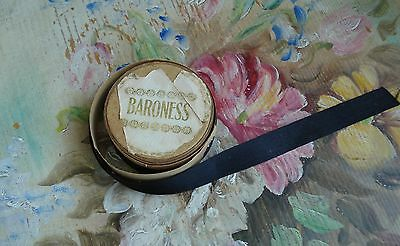 ANTIQUE BARONESS BLACK SILK RIBBON ON PAPER ROLL 5 FT VICTORIAN VINTAGE DOLL