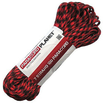 100 FT 7 Strand Cord 550lb BLACK WIDOW Nylon Paracord Parachute Utility Rope