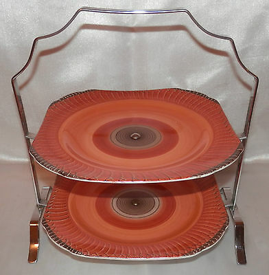 A LOVELY RARE & ORIGINAL SHELLEY TWO TIER ART DECO CAKE STAND WITH SQUARE PLATES