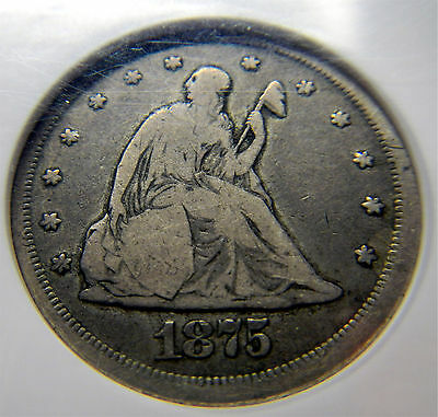1875 CC 20 cent.  NGC   VG8.    NICE COIN GRAY SURFACES