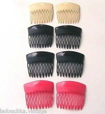 FRENCH 1950s/1960s LUCITE HAIR COMBS ORNAMENTS - LOT OF 8 -MADE IN FRANCE- NEW