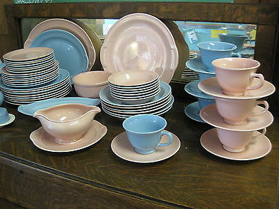 Huge Lot LuRay China Dinnerware Pink & Blue w/ Extra Serving Pcs. Excellent