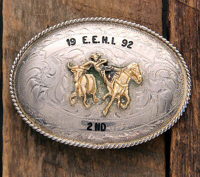 Excellent Condition! Steer Wrestler Champion Trophy Buckle From 1992! No Reserve