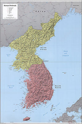 24x36 Poster; Cia Map Of North And South Korea 1986; Antique Reprint