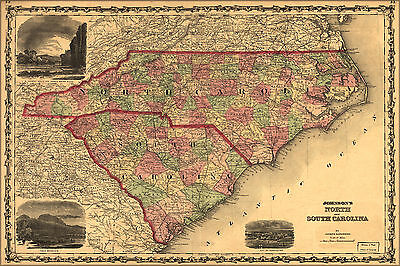 24x36 Poster; Johnsons Map Of North And South Carolina 1861; Antique Reprint