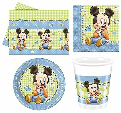 Disney BABY MICKEY MOUSE Birthday PARTY RANGE (Tableware & Balloons)